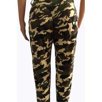 Trendy Mid-Waisted Zipper Design Camo Print Women's Pants - CAMOUFLAGE S