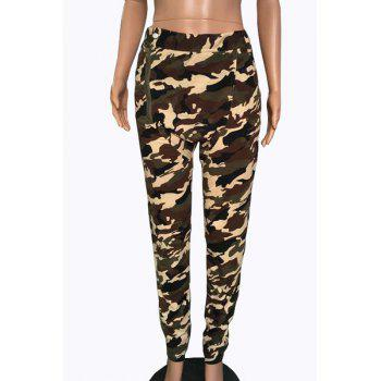 Trendy Mid-Waisted Zipper Design Camo Print Women's Pants