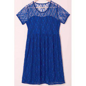 Sexy Scoop Collar Short Sleeve Solid Color See-Through Women's Lace Dress - BLUE 2XL