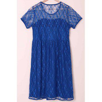 Sexy Scoop Collar Short Sleeve Solid Color See-Through Women's Lace Dress - 2XL 2XL