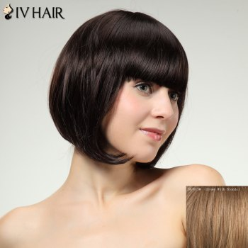 Charming Siv Hair Straight Full Bang Bobo Style Women's Human Hair Wig - BROWN WITH BLONDE BROWN/BLONDE
