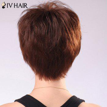 Siv Hair Ultrashort Oblique Bang Women's Human Hair Wig -  MEDIUM BROWN
