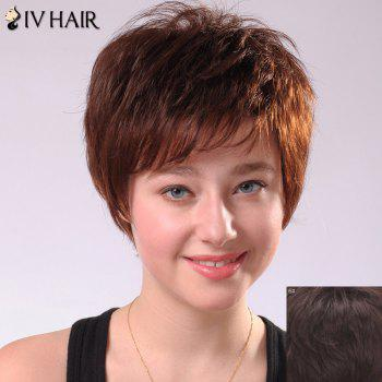 Siv Hair Ultrashort Oblique Bang Women's Human Hair Wig - MEDIUM BROWN MEDIUM BROWN