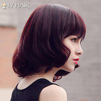 Fluffy Medium Siv Hair Neat Bang Human Hair Wig For Women -  RED MIXED BLACK