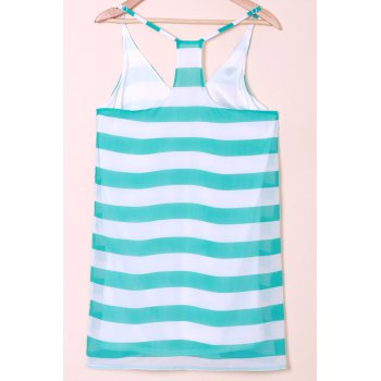 Casual Scoop Collar Sleeveless Striped Color Block Women's Sundress - BLUE/WHITE XL