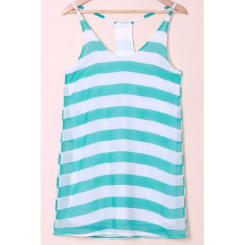 Casual Scoop Collar Sleeveless Striped Color Block Women's Sundress