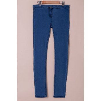 Fashionable Solid Color Skinny High-Waisted Women's Jeans - AZURE L