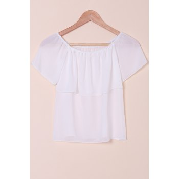 Sexy Style Slash Neck Solid Color Chiffon T-Shirt For Women