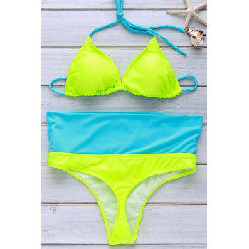 Refreshing Women's Halter Color Block Bikini Set