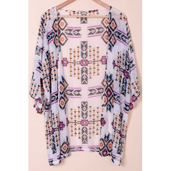 Refreshing Collarless Half Sleeve Floral Print Women's Kimono Blouse