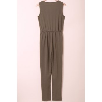 Stylish Sleeveless U Neck Low-Cut Solid Color Women's Jumpsuit - ARMY GREEN M