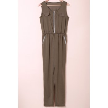 Stylish Sleeveless U Neck Low-Cut Solid Color Women's Jumpsuit