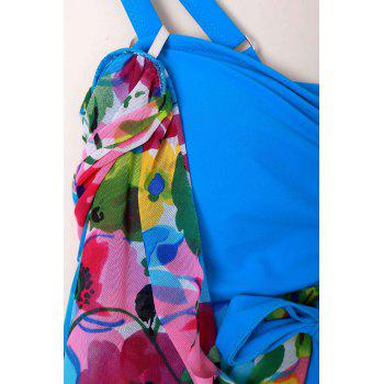 Graceful Plunging Neck One-Piece Floral Print Asymmetrical Women's Swimwear - 5XL 5XL