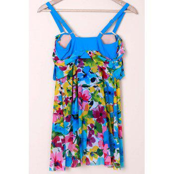 Graceful Plunging Neck One-Piece Floral Print Asymmetrical Women's Swimwear - 3XL 3XL
