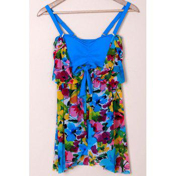 Graceful Plunging Neck One-Piece Floral Print Asymmetrical Women's Swimwear - BLUE XL