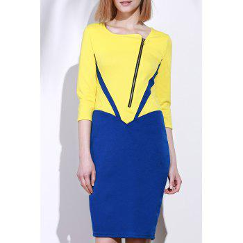 Elegant 3/4 Sleeve Square Neck Zippered Color Block Women's Dress - YELLOW XL