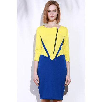 Elegant 3/4 Sleeve Square Neck Zippered Color Block Women's Dress - XL XL