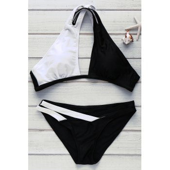 Color Block Sexy V-Neck Hollow Out Women's Swimwear