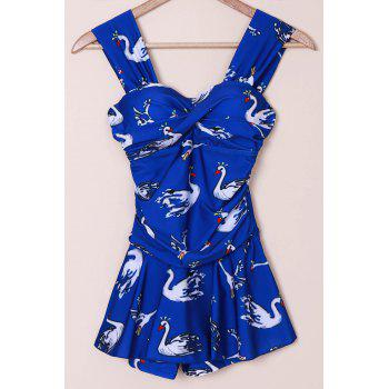 SexySweetheart Neck Swan Print Tankini Swimwear For Women