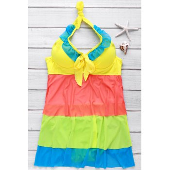 Sexy Halter Hit Color Flounced One-Piece Women's Swimwear