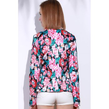 Stylish Long Sleeve Lapel Floral Print Women's Blazer - COLORMIX XL