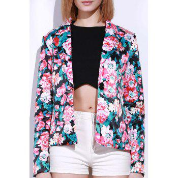 Stylish Long Sleeve Lapel Floral Print Women's Blazer