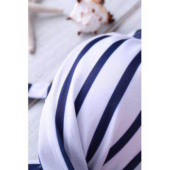 Retro Style Halterneck Striped High-Waisted Bikini Set For Women - AS THE PICTURE AS THE PICTURE