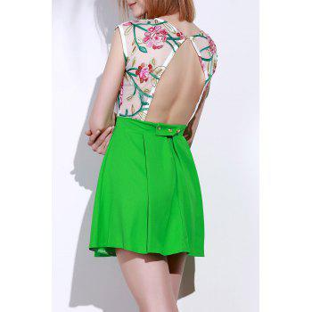 Chic Round Collar Sleeveless See-Through Flower Pattern Women's Dress