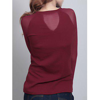 Elegant Women's Round Neck Long Sleeve Mesh Splicing T-Shirt - WINE RED L
