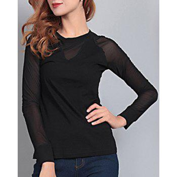 Elegant Women's Round Neck Long Sleeve Mesh Splicing T-Shirt
