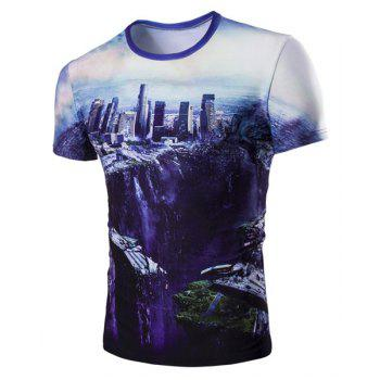 Round Neck The Fall of the City 3D Print Short Sleeve Men's T-Shirt