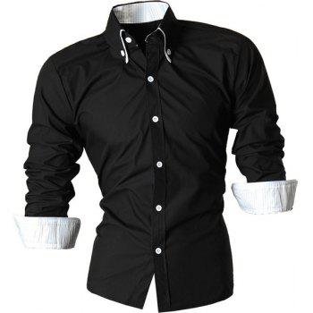 Button-Down Stripe Hemming Design Turn-Down Collar Long Sleeve Men's Shirt