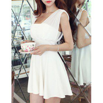 Trendy Sleeveless Square Neck Hollow Out Solid Color Women's Dress