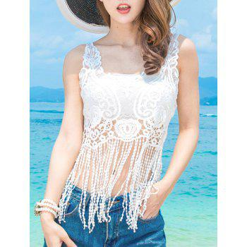 Tube Top   Fringed Hollow Out Lace Cover Up Women s Twinset