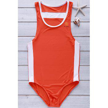 Hit Color Letters Logo Pattern U Convex Pouch Design Men's One-Piece Swimming Suit - ORANGE S