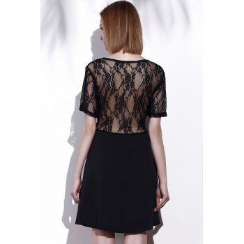 Stylish Scoop Neck Lace Spliced Plus Size Short Sleeve Women's Dress - BLACK BLACK