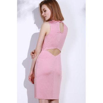 Elegant Sleeveless Solid Color Back Hollow Out Bodycon Dress For Women - PINK ONE SIZE(FIT SIZE XS TO M)