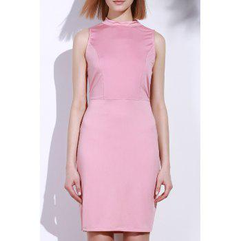 Elegant Sleeveless Solid Color Back Hollow Out Bodycon Dress For Women