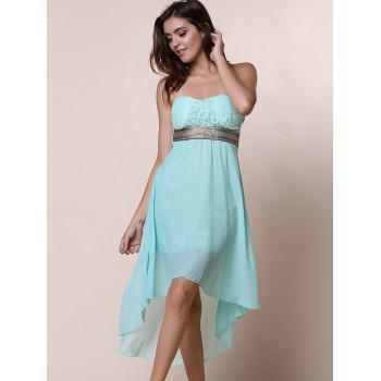 Strapless Lace Spliced Irregular Hem Sheer Club Dresses For Women - S S