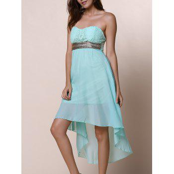 Strapless Lace Spliced Irregular Hem Sheer Club Dresses For Women - BLUE S