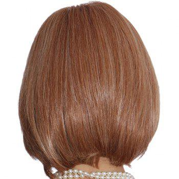 Stylish Straight Short Elegant Inclined Bang Capless Real Natural Hair Wig For Women - AUBURN BROWN