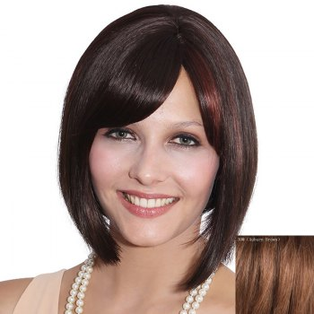 Elegant Bob Style Short Capless Straight Side Bang Women's Human Hair Wig - AUBURN BROWN #30 AUBURN BROWN