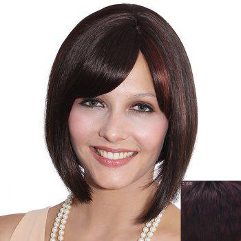 Elegant Bob Style Short Capless Straight Side Bang Women's Human Hair Wig