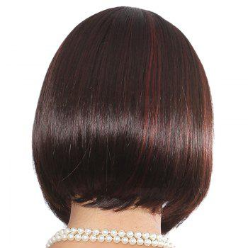 Elegant Bob Style Short Capless Straight Side Bang Women's Human Hair Wig -  RED MIXED BLACK