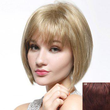 Trendy Straight Full Bang Capless Bob Style Short Women's Human Hair Wig - DARK AUBURN BROWN DARK AUBURN BROWN
