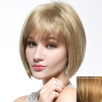 Trendy Straight Full Bang Capless Bob Style Short Women's Human Hair Wig - GOLDEN BLONDE GOLDEN BLONDE