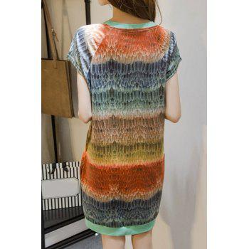 Chic Loose Short Sleeve Scoop Neck Dress For Women - COLORMIX 3XL