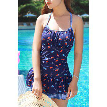 Chic Halter Cut Out Printed One-Piece Swimwear For Women