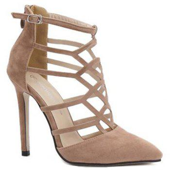 Trendy Hollow Out and Suede Design Women's Pumps