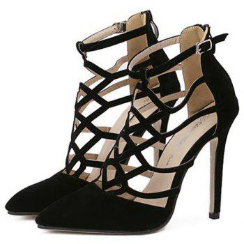 Trendy Hollow Out and Suede Design Women's Pumps - 39 39